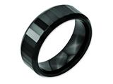 <b>Engravable</b> Chisel Ceramic Black Faceted Beveled Edge 8mm Polished Weeding Band style: CER15