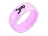<b>Engravable</b> Chisel Ceramic Pink Black Laser Accented Ribbon 8mm Polished Wedding Band style: CER29A