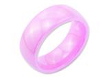 <b>Engravable</b> Chisel Ceramic Pink 8mm Polished Wedding Band style: CER29