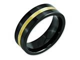 <b>Engravable</b> Chisel Ceramic Flat Black With 14k Inlay 8mm Polished Weeding Band style: CER37
