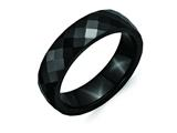 <b>Engravable</b> Chisel Ceramic Black 6mm Faceted Polished Wedding Band style: CER49
