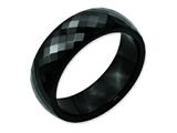 <b>Engravable</b> Chisel Ceramic Black Faceted 7.5mm Polished Wedding Band style: CER4