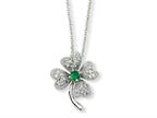 Cheryl M Sterling Silver Simulated Emerald/CZ 4-leaf Clover 18in Necklace Style number: QCM367
