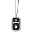 Chisel Stainless Steel Black Ip-plated Polished Dog Tag Cross With CZ Necklace Style number: SRN136722