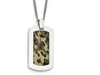 Chisel Stainless Steel Polished Printed Brown Camo Under Rubber Necklace Style number: SRN180922