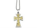 Chisel Stainless Steel 14k Accent Cross Pendant Necklace Style number: SRN49222