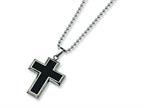 Chisel Titanium Carbon Fiber Cross Necklace - 22 inche Stainless steel chain Style number: TBN113