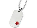 Chisel Titanium Medical Jewelry Dog Tag Pendant Necklace 22 Inch Stainless steel chain Style number: TBN12322