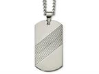 Chisel Tungsten Textured and Polished Dog Tag Necklace Style number: TUN11824