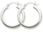 14k White Gold 3mm Polished Square Tube Hoop Earrings Style number: Z1116