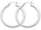 14k White Gold 3mm Polished Square Tube Hoop Earrings Style number: Z1118