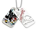 Ed Hardy Tattoo 2-piece Dog Tag Painted Necklace style: EHF100
