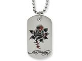 Stainless Steel Ed Hardy Thorny Rose Dog Tag Painted Necklace style: EHF118