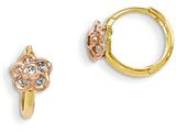 14k Madi K Yellow and Rose Gold Cz Flower Hinged Hoop Children Earrings style: GK789