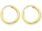 14k Polished Round Endless 2mm Hoop Earrings style: H978