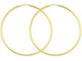 14k Polished Round Endless 2mm Hoop Earrings style: H988