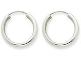 14k White Gold Polished Endless 2mm Hoop Earrings style: H990