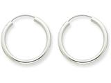 14k White Gold Polished Endless 2mm Hoop Earrings style: H991