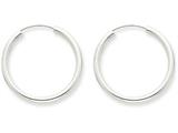 14k White Gold Polished Endless 2mm Hoop Earrings style: H992