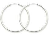 14k White Gold Polished Endless 2mm Hoop Earrings style: H995