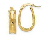 Finejewelers 14k Polished Textured Oval Hoop Earrings style: LESLE1083