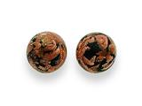 Sterling Silver Black and Copper Color Murano Glass Earrings style: MUR74