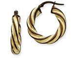 14k and Chocolate Rhodium 5mm Twisted Hoop Earrings style: PRE205