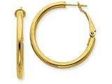 14k Yellow Gold 3x25mm Polished Round Hoop Earrings style: PRE222