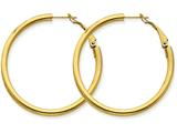 14k Yellow Gold 3x35mm Polished Round Hoop Earrings style: PRE224