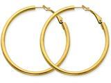 14k 3x40mm Polished Round Hoop Earrings style: PRE225