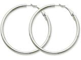 14k White Gold 3x40mm Polished Round Hoop Earrings style: PRE225W