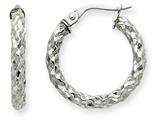 14k White Gold 2.5mm Textured Round Hoop Earrings style: PRE502