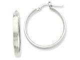 14k White Rhodium Hoop Earrings style: PRE571