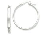 14k White Rhodium Hoop Earrings style: PRE572