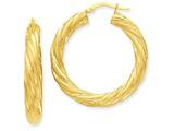 14k Satin and Polished Twisted Hoop Earrings style: PRE778