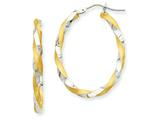 Finejewelers 14 kt Two Tone Gold and Rhodium Twisted Hoop Earrings style: PRE780