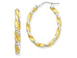 14k and Rhodium Twisted Hoop Earrings style: PRE781