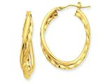14k Yellow Gold Textured And Polished Twist Hoop Earrings style: PRE785