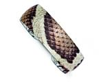 Sterling Silver Overlay Design Brown Snake Domed Cuff Bracelet Bangle style: QB709