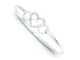 Sterling Silver Cubic Zirconia Heart Bangle style: QB756