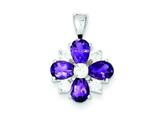 Sterling Silver Amethyst and Cubic Zirconia Pendant Necklace - Chain Included style: QC2191