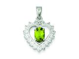 Sterling Silver Peridot and Cubic Zirconia Pendant Necklace - Chain Included style: QC2210