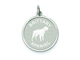 Sterling Silver Brittany Spaniel Disc Charm style: QC2675