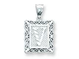 Sterling Silver Initial V Charm style: QC2770V