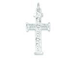 Sterling Silver Diamond -cut Cross Pendant Necklace - Chain Included style: QC2879