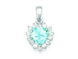 Sterling Silver Blue Topaz and Cubic Zirconia Pendant - Chain Included style: QC2932