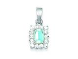 Sterling Silver Blue Topaz and Cubic Zirconia Pendant - Chain Included style: QC2936
