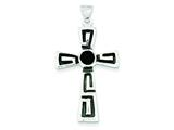 Sterling Silver Antiqued Onyx Cross Pendant Necklace - Chain Included style: QC3285