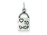 Sterling Silver Antiqued Love To Shop Charm style: QC3980