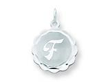 Sterling Silver Brocaded Initial F Charm style: QC4161F